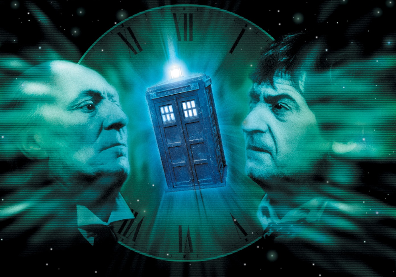 William Hartnell and Patrick Troughton looking at a Tardis against a clock face - all sort of blue and green