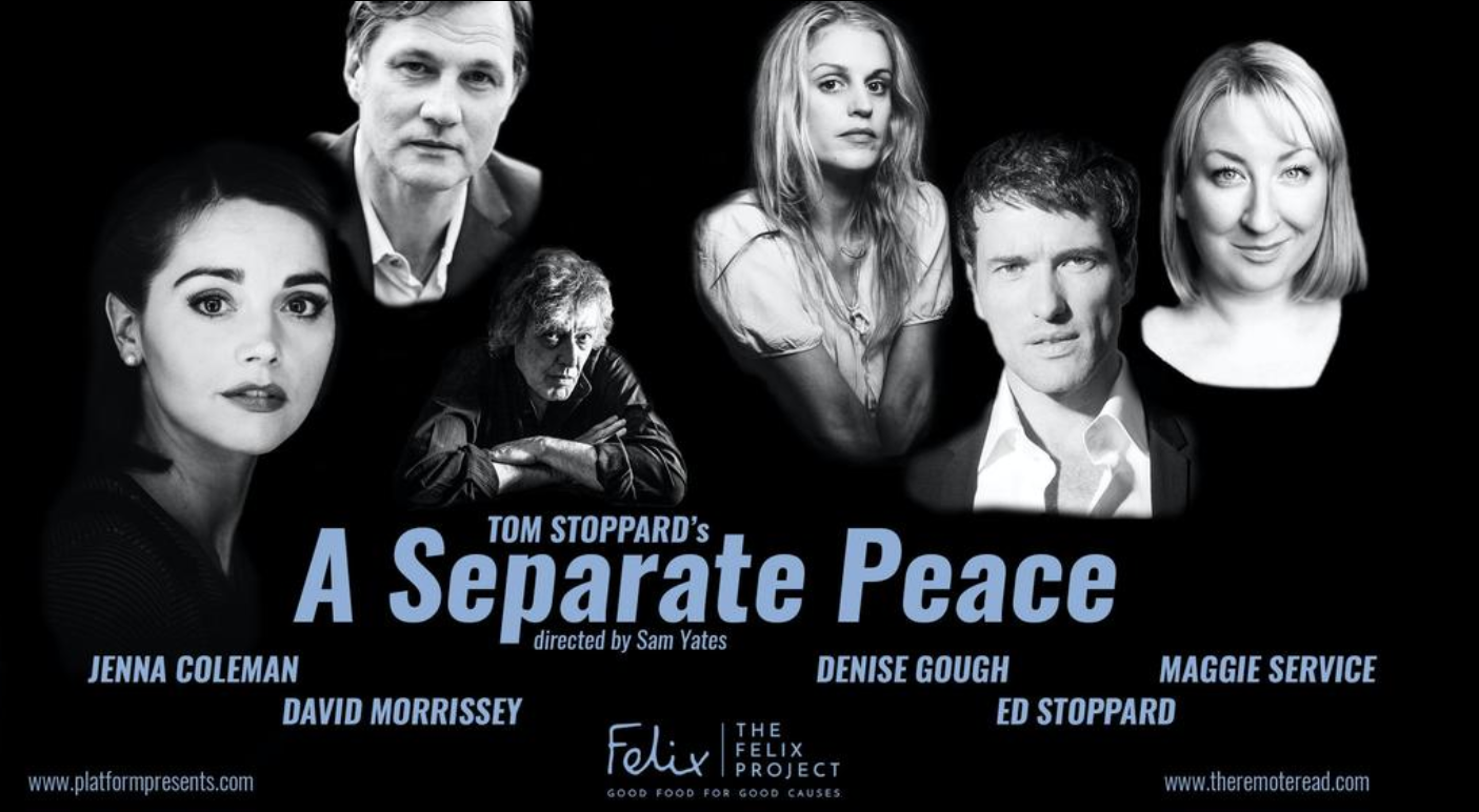This Weekend: Jenna Coleman Reads A Separate Peace, A Tom Stoppard Play for Charity