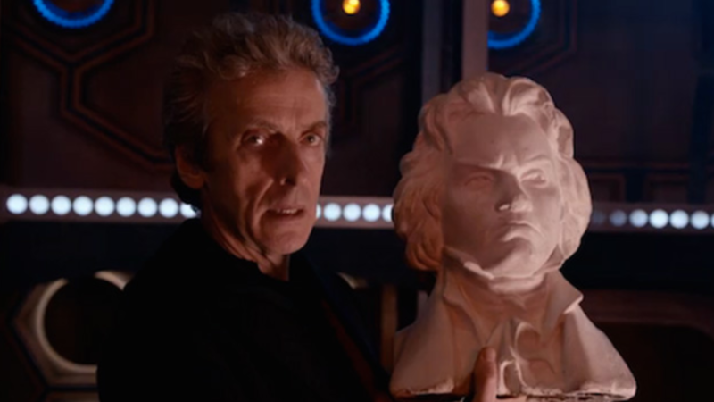 Twelfth Doctor with bust of Beethoven